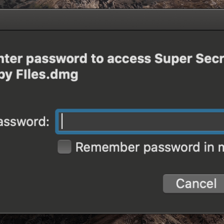 "Cover image of password box asking for the password for an encrypted file called ""Super Secret Spy Files"""