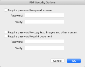 The PDF Security options box. 1 option for encryption the document with a password, and 2 other check boxes limiting the ability to copy info out of the PDF and limiting printing of the documents, both using another password.