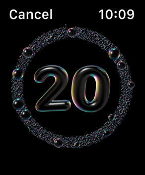 Imaging courtesy of Apple - Image of the Watch's handwashing countdown interface