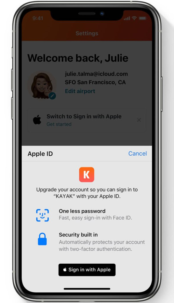 Demonstrating the new Sign-in with Apple with the option to upgrade your existing account with Kayak to a Sign-in with Apple account - Image courtesy of Apple