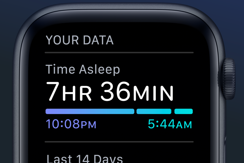 Image courtesy of Apple - The Sleep Health Data view on Apple Watch