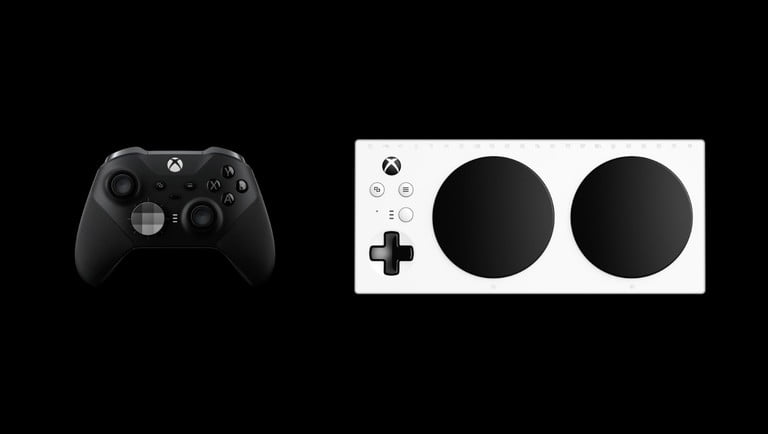 Picture of the Xbox Elite and Microsoft Adaptive controllers - Image courtesy of Apple