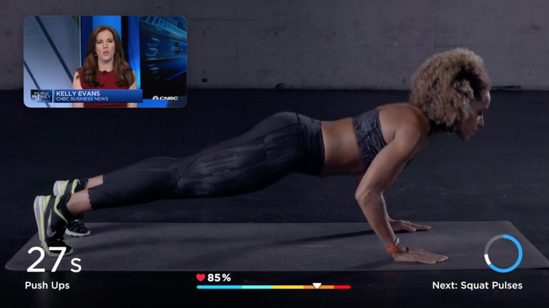 Image of workout app with picture-in-picture of a news stream.
