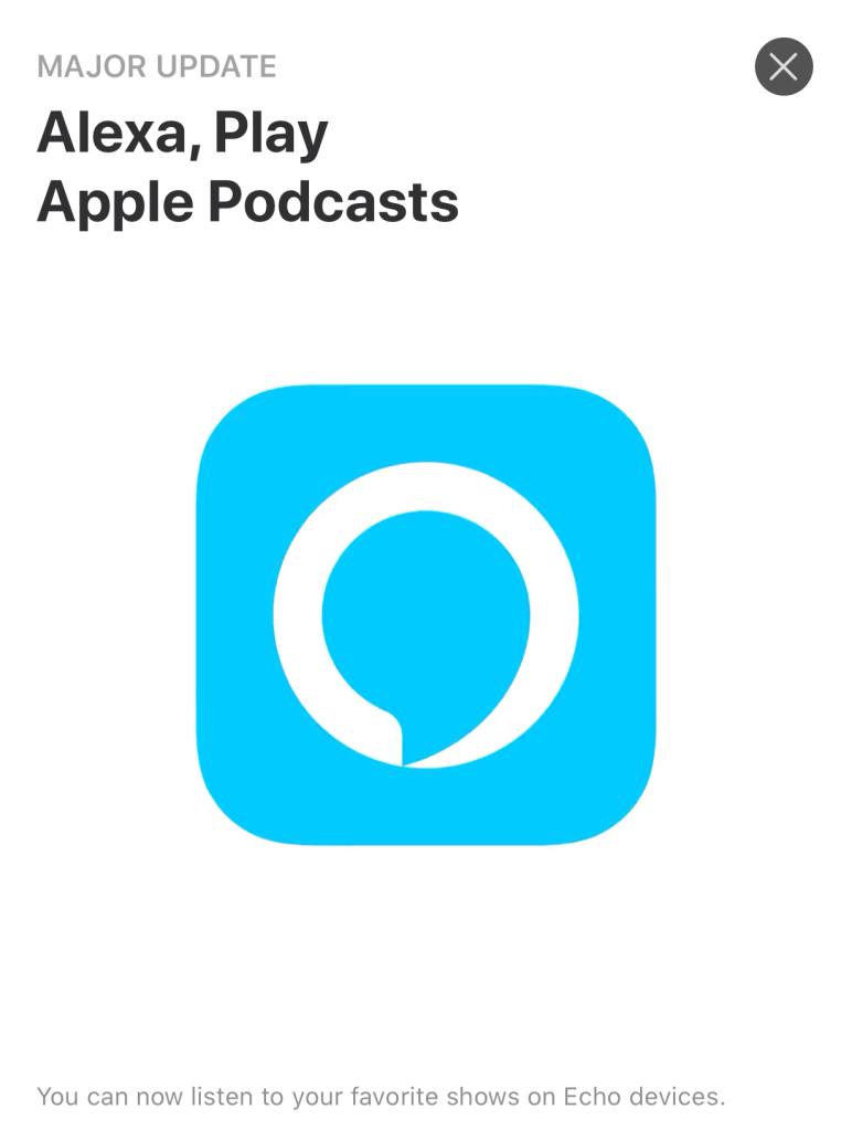 Apple's announcement of Apple Podcasts in the iOS App Store with the Alexa App icon