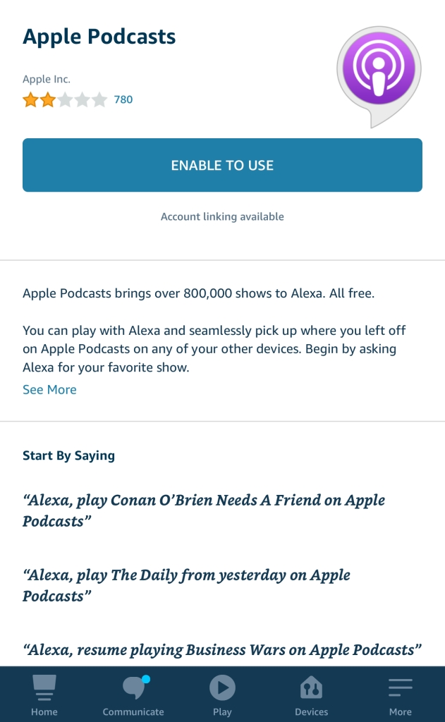 "The Apple Podcasts Skill in the Alexa Skill Store, with the name ""Apple Podcasts"" at the top, the logo on the right, and the enable button near the center."