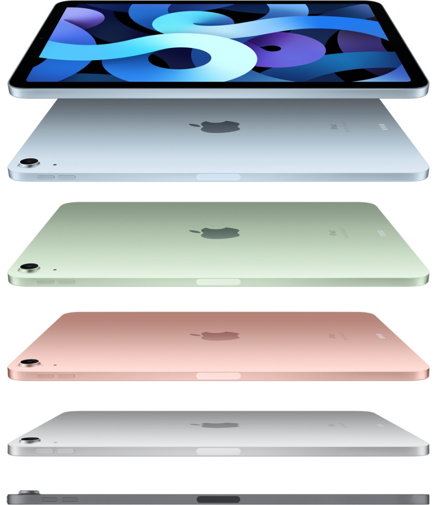 The 5 iPad colors in a stack.  Space gray at the bottom, silver next up, rose gold in the middle, green second from the top, and sky blue at the very top.  IMAGE COURTESY OF APPLE