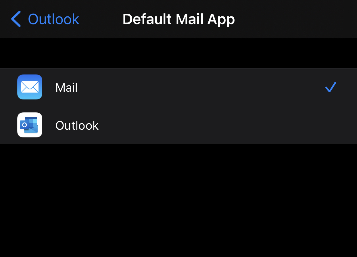 The default mail client selection screen. The client you selected is at the top with others listed alphabetically below it.