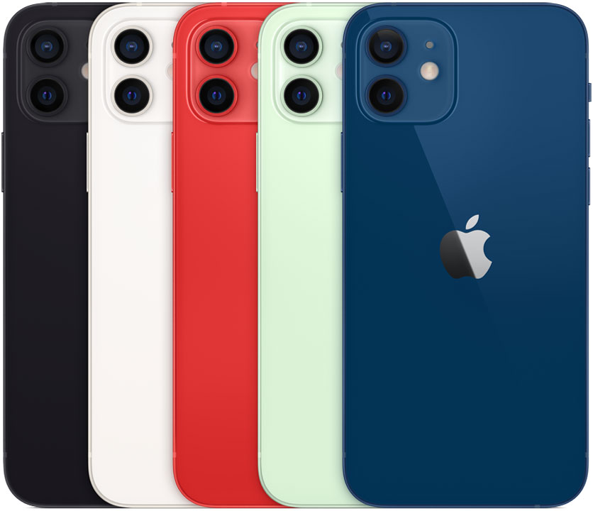 The 5 colors of the iPhone 12 and 12 mini starting on the left with black, then white, red in the middle, light green, and blue on the far right.  Image courtesy of Apple