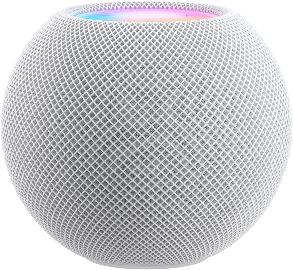 The HomePod mini in white, with the glowing circle on top.  Image courtesy of Apple