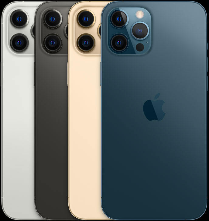 iPhone 12 Pro backs with Silver on the far left, black, gold, and blue on the far right.  Image courtesy of Apple