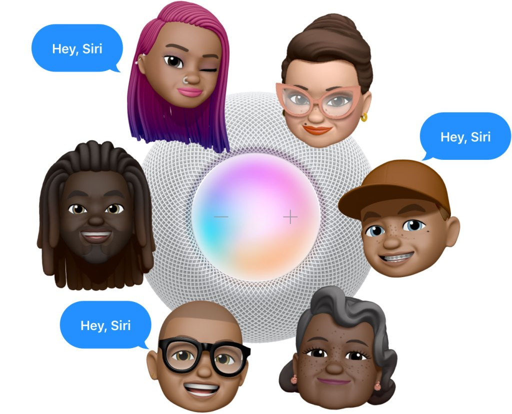 "A top down image of the HomePod with various Memoji images saying ""Hey, Siri"" to demonstrating Siri's multi-user support.  Image courtesy of Apple"