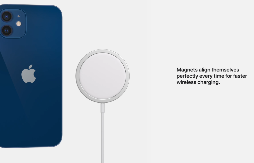 "Image of a blue iPhone next to a puck shaped MagSafe magnetic wireless charger.  The text to the right reads ""Magnets align themselves perfectly every time for faster wireless charging""  Image courtesy of Apple"