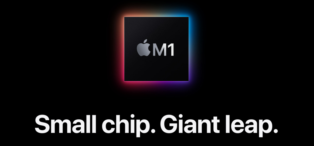 "Black background with the M1 Chip up top, with the text below ""Small chip. Giant Leap"