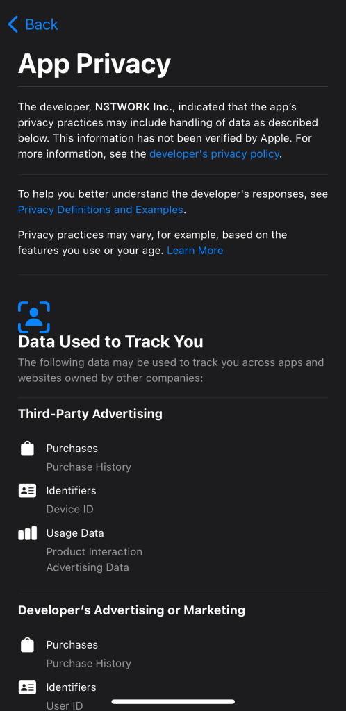 The new App Privacy screen in iOS 14.3.  This screen show the tracking data collected and used by the Tetris app from N3TWORK Inc.
