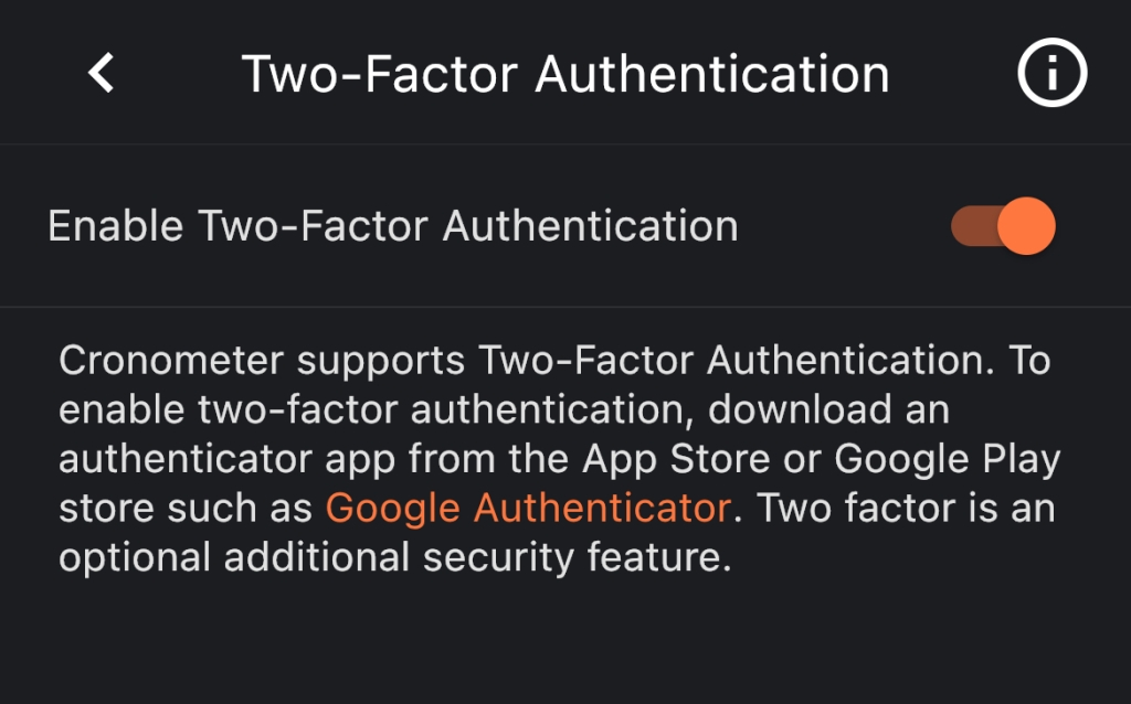 Two-factor authentication screen, showing it is enabled and supports Google Authenticator and others like it.