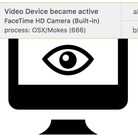 A picture of an iMac with an eyball in the center. Above it is the notification from Oversight saying the process activating the camera and whether to allow or block it.