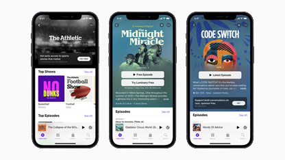 Picture of iPhones with the new Podcasts interface and showing off the Subscription feature.  Image Courtesy of Apple