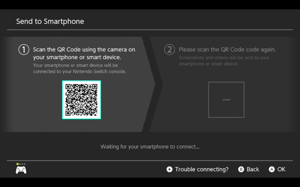 The first QR code screen to connect your phone to the Switch, with the code on the left side of the screen.