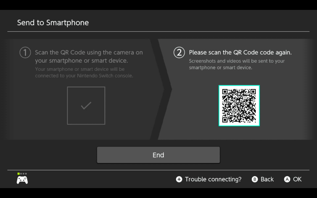 The second QR code to open the web page on your phone with the images or videos you want to send.
