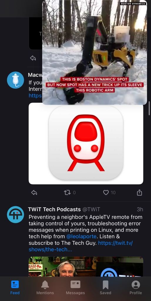 A Picture-in-Picture video from CNET on at Boston Dymanics robot hovering over a tweet from MacWorld and TWiT in the Twitter timeline.