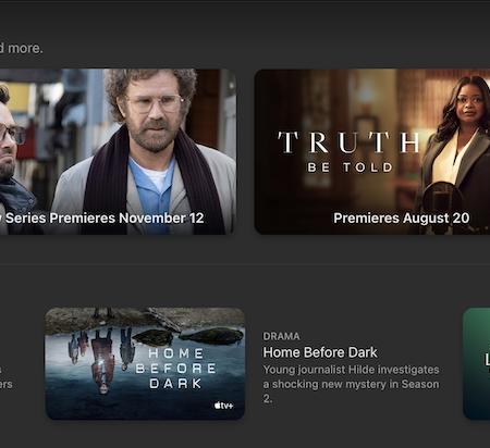 A screenshot of the Apple TV homepage