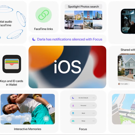 A tiled photo of the features Apple announced at WWDC
