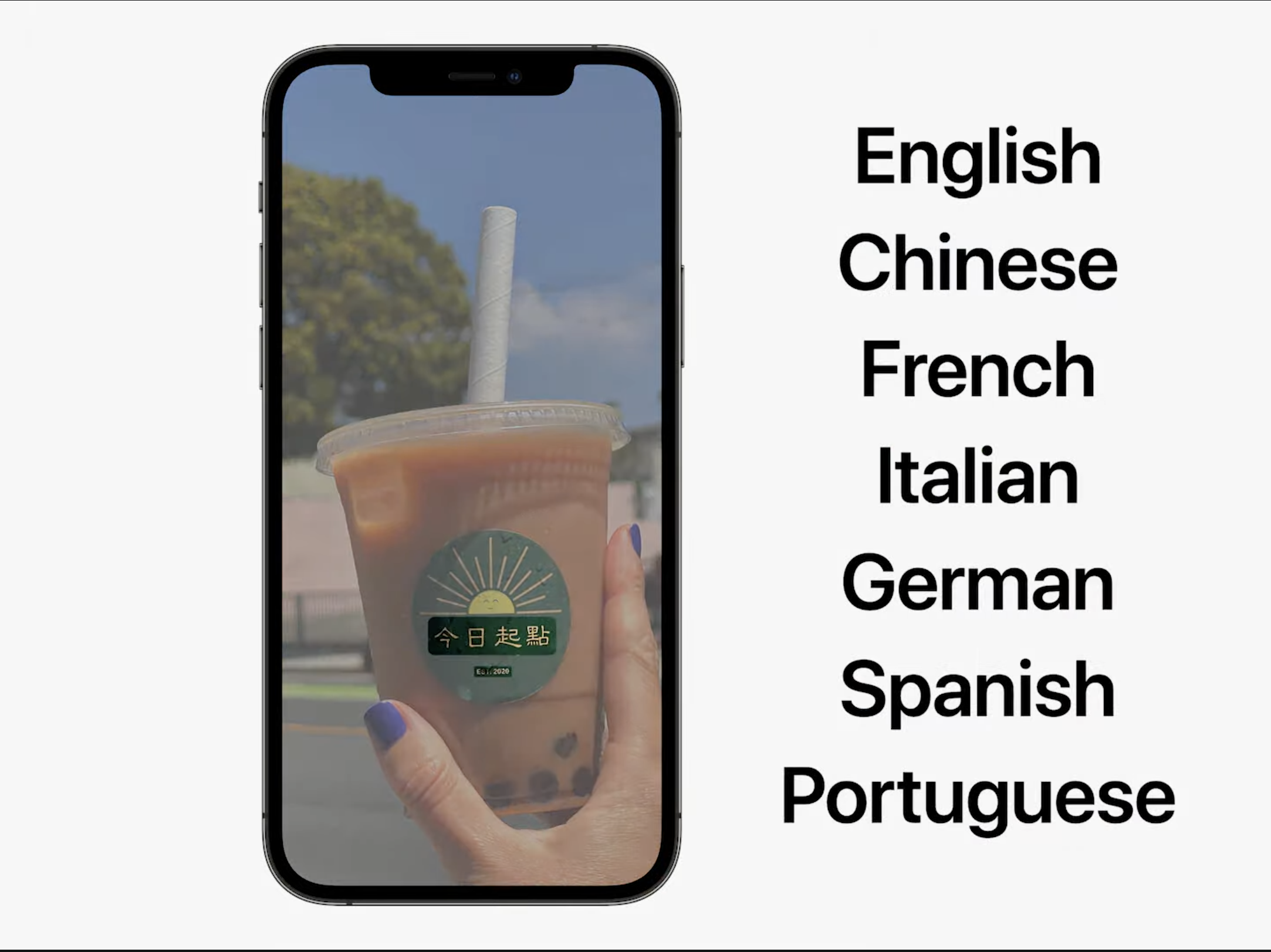 The new Live Text feature in camera translating the words on a cup. Live Text can translate between English, Chinese, French, Italian, German, Spanish, and Portuguese.