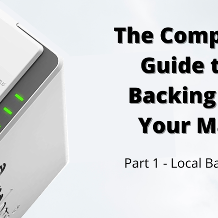 """Image of a Synology NAS backup system on the left, with the text next to it ready """"The Complete Guide to Backing Up Your Mac - Part 1: Local Backups"""