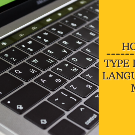 """A Mac with a dual English and Russian keyboard. A yellow box on the side says """"How to type in Other Languages on Mac"""