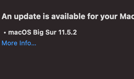 Image of the Update screen for Big Sur 11.5.2