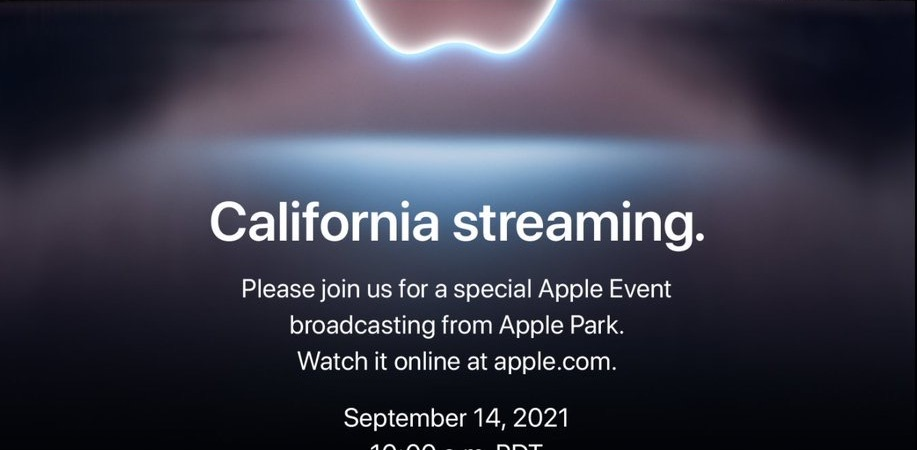 The Apple September 21 Event Announcement. A twilight mountain background with a white outlined Apple logo hovering over a lake.