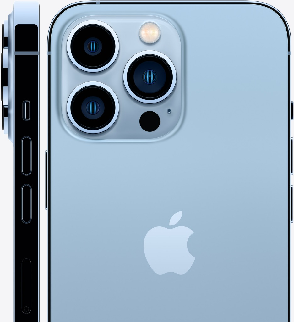 The side profile of the iPhone 13 Pro showing the silence switch, the camera bump, and the volume buttons, next to the rear facing view of the phone.  IMAGE COURTESY OF APPLE