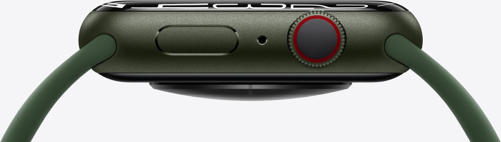 The side profile of the Cellular Apple Watch in green (IMAGE COURTESY OF APPLE)