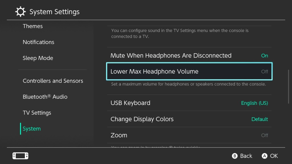 Under the System section in the settings, and scrolling to the bottom of the page will give you the options to Mute the audio when headphones are disconnected and toggle whether the Switch should limit your max headphone audio.