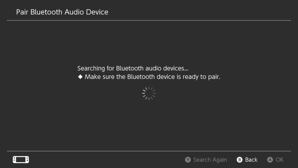 The Switch is searching for Bluetooth devices.